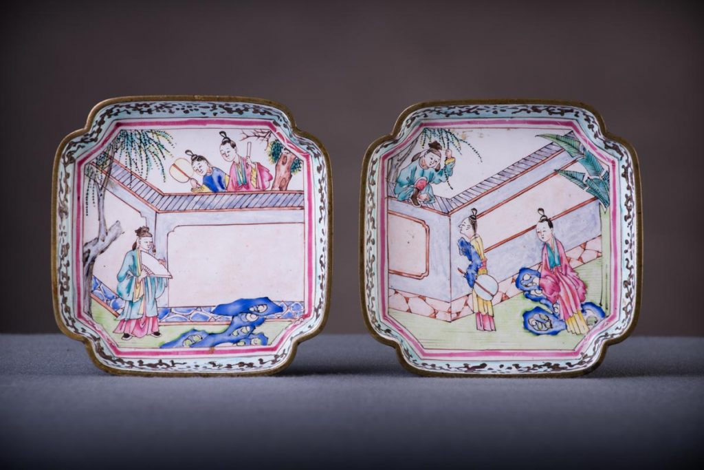 19th Century Canton enamel dishes