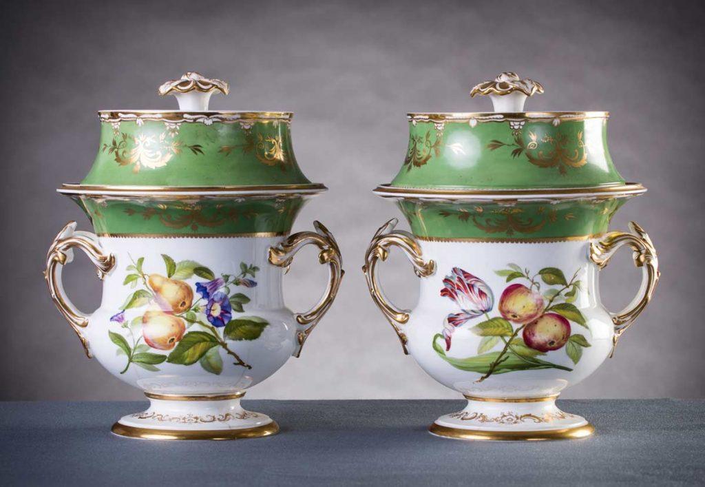 A pair of Regency porcelain ice pails